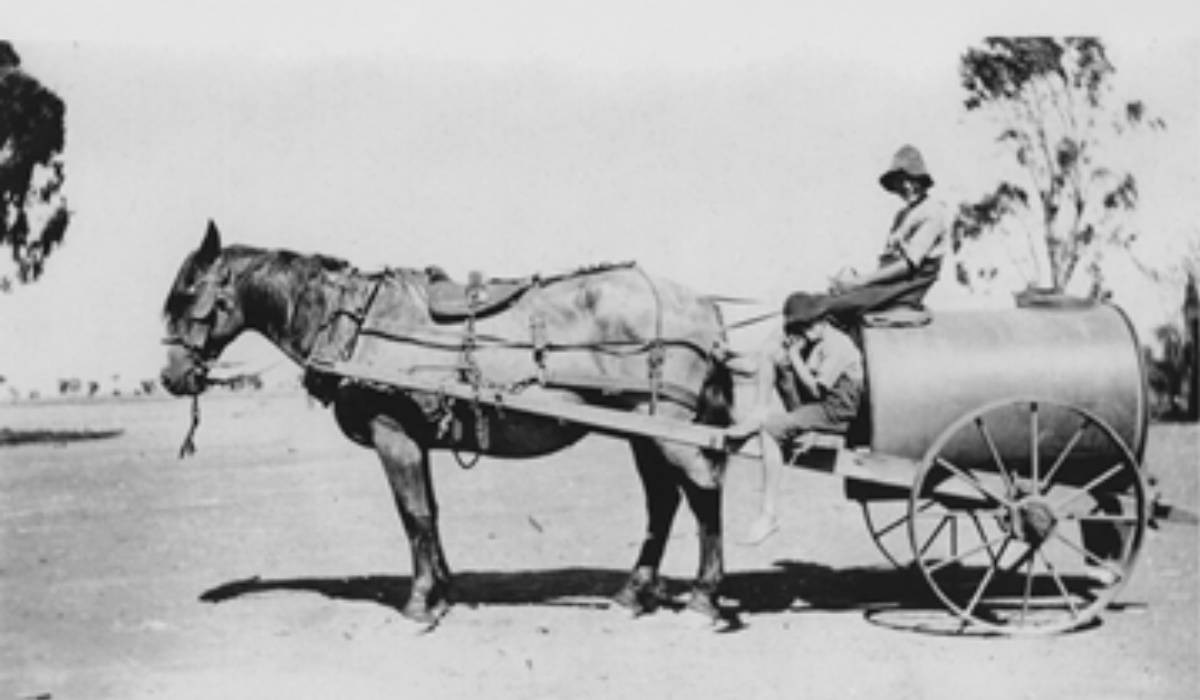 George & Jack Pyle and old Bluey withwater cart at Rothiemay c 1920