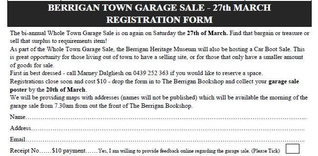 Garage Sale Application Form